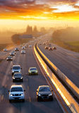 Traffic on highway with cars Royalty Free Stock Images