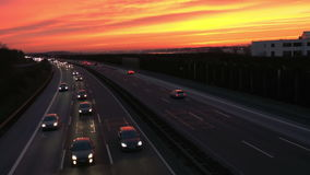 Traffic on highway at dusk stock footage