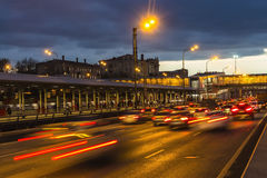 Traffic on highway in dusk, Royalty Free Stock Image