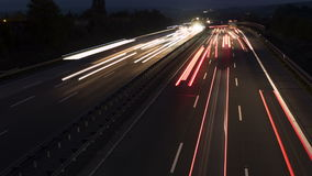 Traffic on highway at dusk - timelapse stock footage