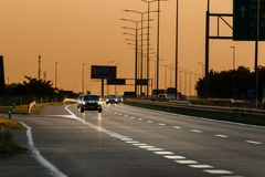Traffic on the highway in the evening light royalty free stock photo