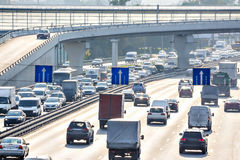 Traffic on the highway. Heavy traffic on the highway Royalty Free Stock Image