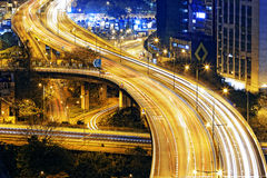 Traffic highway in Hong Kong at night Royalty Free Stock Image