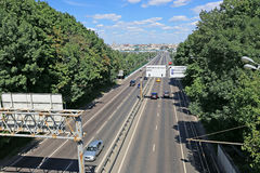 Traffic on a highway in Moscow Stock Photography