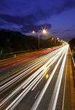 Traffic on highway at night Royalty Free Stock Photo