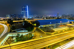 Traffic and highway at night Royalty Free Stock Image