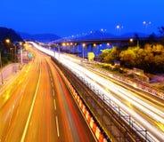 Traffic on highway. At night Stock Image