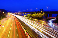 Traffic on highway. At night Royalty Free Stock Photos