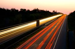 Traffic on a highway at night Royalty Free Stock Photo