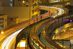 Traffic highway night, Hong Kong Stock Image