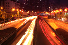 Traffic highway in night Shanghai. Traffic big highway in night Shanghai Stock Photo