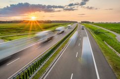 Traffic on the highway. Poland Stock Photography