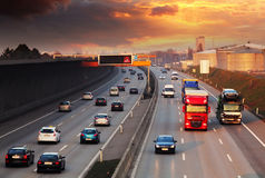 Traffic on a highway stock photos