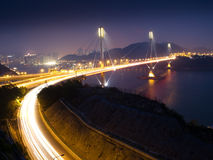 Traffic Highway in Ting Kau Bridge. At night Royalty Free Stock Photos