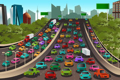 Traffic on a highway royalty free illustration