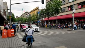 Traffic in Historical Center of Mexico City stock video