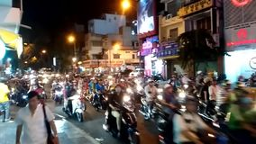 Traffic in Ho Chi Minh City. Evening traffic in streets of Ho Chi Minh City, Vietnam stock footage