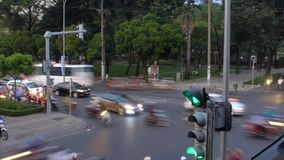 Traffic in Ho Chi Minh, Vietnam in the evening stock video footage