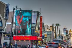 Traffic in Hollywood boulevard at sunset Royalty Free Stock Photography