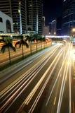 Traffic in Hong Kong. At night Royalty Free Stock Images