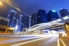 Traffic in Hong Kong at night Stock Images