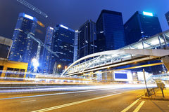 Traffic in Hong Kong at night Royalty Free Stock Images