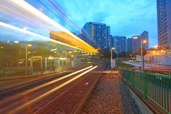 Traffic in Hong Kong at night. Light rail. Stock Images