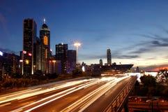 Traffic in Hong Kong during sunset Royalty Free Stock Photo