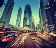 traffic in Hong Kong at sunset Royalty Free Stock Images