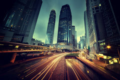 Traffic in Hong Kong. At sunset time Stock Images