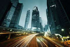 Traffic in Hong Kong at sunset time Stock Photos