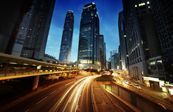 Traffic in Hong Kong at sunset time Stock Photography
