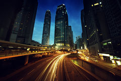 Traffic in Hong Kong at sunset time Royalty Free Stock Photography