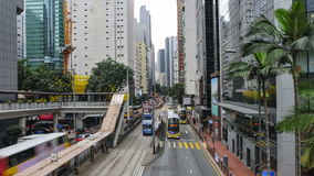 The traffic  in Hong Kong. A view of the traffic in the streets of Hong Kong island stock footage