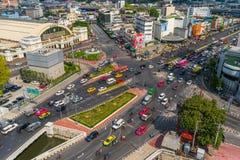 Traffic at Hua Lamphong intersection in Bangkok, Thailand stock image