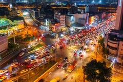 Traffic at Hua Lamphong intersection at night in Bangkok, Thailand stock photos