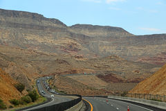 Traffic on I-15 thruogh Virgin River Canyon, Arizona Stock Photos