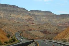 Traffic on I-15 thruogh Virgin River Canyon, Arizona Stock Photos