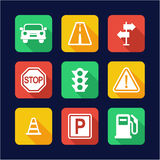Traffic Icons Flat Design Stock Photography
