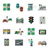 Traffic Icons Flat Set Stock Photos