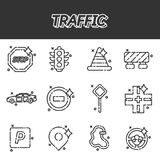 Traffic icons pattern. With navigation light controller flat icons isolated vector illustration Stock Image