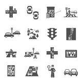 Traffic Icons Set. Traffic icons black set with cars navigation and policeman isolated vector illustration Royalty Free Stock Photos
