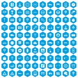 100 traffic icons set blue. 100 traffic icons set in blue hexagon isolated vector illustration vector illustration