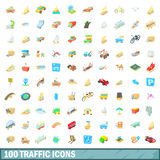 100 traffic icons set, cartoon style Stock Image