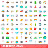 100 traffic icons set, cartoon style Royalty Free Stock Image