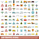 100 traffic icons set, flat style Royalty Free Stock Image