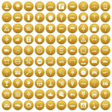100 traffic icons set gold. 100 traffic icons set in gold circle isolated on white vector illustration royalty free illustration