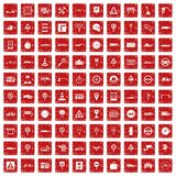 100 traffic icons set grunge red Stock Photography