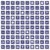100 traffic icons set grunge sapphire. 100 traffic icons set in grunge style sapphire color isolated on white background vector illustration Stock Photo