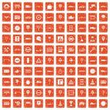 100 traffic icons set grunge orange. 100 traffic icons set in grunge style orange color on white background vector illustration royalty free illustration
